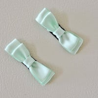 Mint Green Satin Bow Magnets