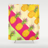 Tropical Pineapples Shower Curtain by Ornaart
