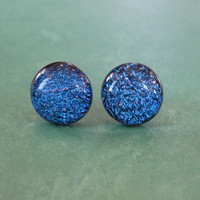 Dichroic Blue Studs Earrings, Hypoallergenic Earrings, Fashion Earring Jewelry, Evening Jewelry - Miriam - 2373 -4