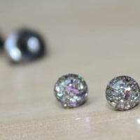 Small stud earrings in pink and holographic glitter, teeny tiny post earrings studs - hypoallergenic surgical steel - 4mm