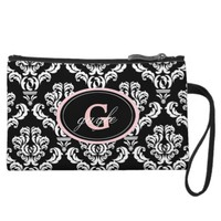 Black Damask Pink Monogram Wristlet Bag