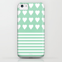 Heart Stripes Mint iPhone & iPod Case by Project M