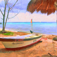 Cozumel Boats 11x14 Glicee Print from original painting Colorful Tropical Mexico Beach Palapa Fishing Skiffs KORPITA ebsq