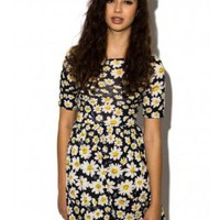 Daisy Print 3/4 Sleeve Skater Dress