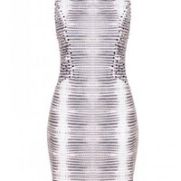 Beige Sequin Detail Printed Bodycon Dress