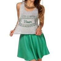 Grey Shake Your Shamrock Tank Top