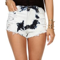 Pre-Order Lt. Denim Bleached Destructed Shorts