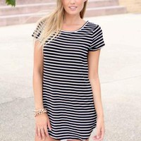 Black & White Striped Shift Dress