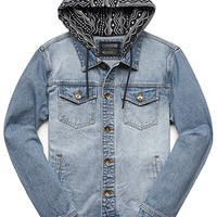 Tribal Print Hooded Denim Jacket
