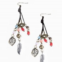 BEAD LEAF EARRINGS