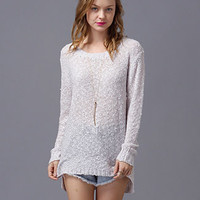 Long Sleeve Corchet Sweater