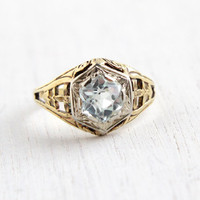 Antique 14k Yellow & White Gold Aquamarine Ring - Size 6 1/2 Vintage Filigree Flower Accents Art Deco 1920s Fine Jewelry