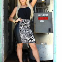 Animal Print High Waist Leatherette Skirt (S80386A)