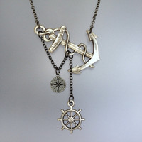 Lost at Sea Necklace by SBC Antique Silver Anchor Compass Charm and Ship Wheel Gunmetal Chain Made to Order