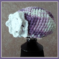 Little Girls Cloche Hat Spring Summer Orchid Lilac Purple Lavender Cloche 18 to 24 mo Toddler Beanie Flower Accent Handmade Crochet