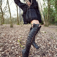 Gothic Black Leather Knee High Boots