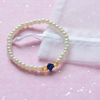 The Serena: Sapphire Blue and Yellow Crystal Pearl Bracelet