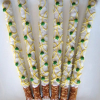 LUCKY YOU Shamrock Gourmet White Chocolate Dipped Pretzels -1 Dozen