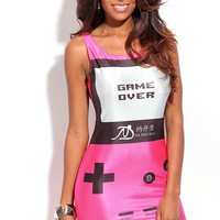 HOT PINK VIDEO GAME PRINT TANK SLEEVE DRESS