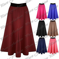 New Womens Stretchy Mid Length Scuba Flared Ladies Skater Midi Swing Long Skirt