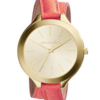 Michael Kors Slim Golden Double-Wrap Stainless Steel/Leather Runway Watch