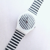 Swatch Watch- Navy and White Stripe Graphic Design