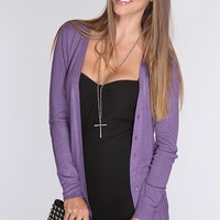 Purple Open Knit Button Up Cardigan Sweater