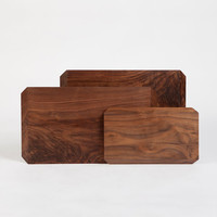 Rhombic Modern Organic Cutting Boards Serving Tray Black Walnut (M)