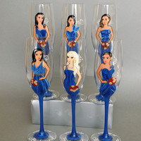 Hand painted Bridal shower party Personalized Wine or Champagne glasses Portraits and bridesmaids dresses PAINTED STEM