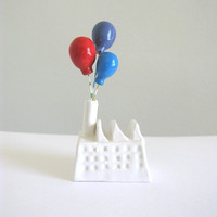Balloon Factory - (red blue purple) - miniature ceramic sculpture