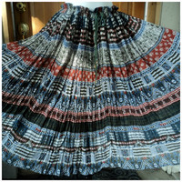 Vintage Bohemian Skirt Tribal Crinkle Cotton Drawstring Navajo Hippie Broomstick India OS