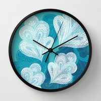 Falling Feathers Wall Clock by Pixel Pop
