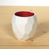 Modern ceramic espresso cup - handmade in polygons espresso - Poligon facetted espresso cup in bright quality tableware - Deep Red