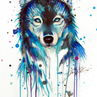 -Dark Wolf- Stretched Canvas by PeeGeeArts
