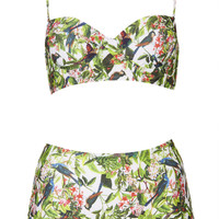 Leaf And Bird Print Bikini