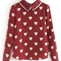 ROMWE Hearts Print Red Blouse