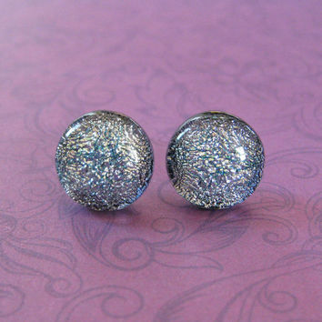 Dichroic Silver Studs Earrings, Hypoallergenic Earrings, Classic Jewelry, Evening Jewelry - Babette - 2310 -4