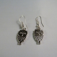 Cute baby silver owl dangle hook earrings perfect for spring or summer