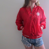 Vintage Baseball Jacket Womens Red Sportswear Mexico Cabo San Lucas Sports