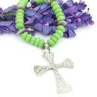 Large Cross Handmade Necklace Hammered Pewter Green Magnesite Jewelry | ShadowDogDesigns - Jewelry on ArtFire