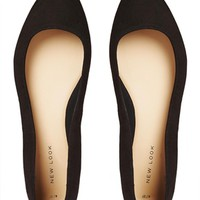 New Look Koinery Black Pointed Flat Shoes