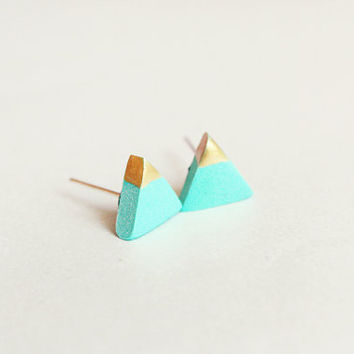 gold dipped triangle studs - mint green and gold - minimalist geometric earrings