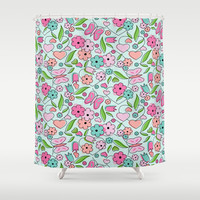 Sweetheart Aqua Shower Curtain by Nina May