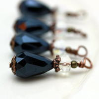 Vintage Style Teardrop Bead Dangle Charm Drop Set in Black and Clear AB - 4 Piece Set