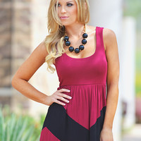 Perfect Chevron Dress - Crimson & Black