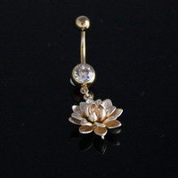Gold Cherry Blossom Navel Ring Belly Button Gold Body Piercing