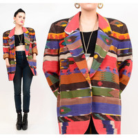 80s Native Southwestern Striped Oversize Slouch Boyfriend Blazer Jacket OSFA