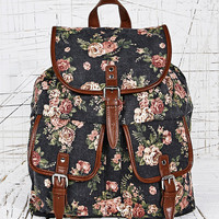 Floral Border Print Backpack in Black - Urban Outfitters