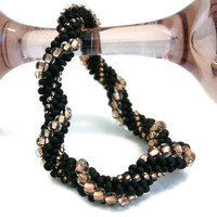 Bead Crochet Bracelet Swing in Black Copper Gold by lanmom