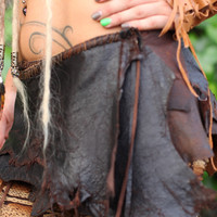 Dark Brown Leather Belt Skirt